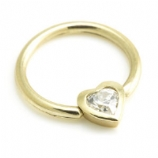 Solid 9ct Gold Heart Crystal Ball Closure Ring - 1.6mm x 12mm
