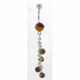 Tiger's Eye & AB Beads Semi-Precious Stone Dangle Belly Bar