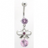 Bow & Round Crystal Dangle Belly Bar