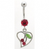 Heart Outline & Cherry Dangle Belly Bar
