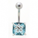 Gecko Square Solitaire Crystal Belly Bar