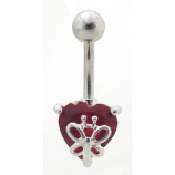 Butterfly Heart Solitaire Crystal Belly Bar
