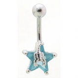 Scorpion Star Solitaire Crystal Belly Bar