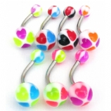 Seven Hearts Colour UV Belly Bars Value Pack