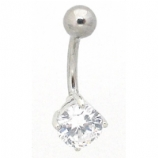 Small Round Crystal Belly Bar