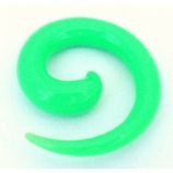Green Neon Acrylic Ear Hook Spiral 2mm - 8mm