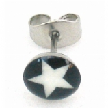 Black / White Star Logo Surgical Steel Ear Ring Earring - Single Stud