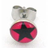 Black / Red Star Logo Surgical Steel Ear Ring Earring - Single Stud