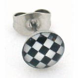 Black / White Chequered Logo Surgical Steel Ear Ring Earring - Single Stud