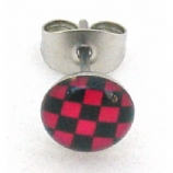 Black / Red Chequered Logo Surgical Steel Ear Ring Earring - Single Stud