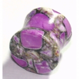 Purple Crazy Agate Stone Saddle Plug 3mm - 12mm