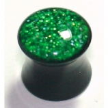 Green Hologram Glitter Acrylic Saddle Plug