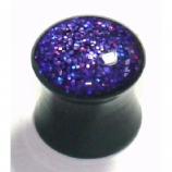 Purple Hologram Glitter Acrylic Saddle Plug