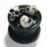 3D Skulls Black Acrylic Screw On Flesh Plug 3mm - 16mm