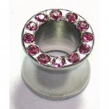 Pink Crystal Gem Surgical Steel Saddle Plug Tunnel