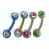 Double Gem Titanium Baby Small Balls Belly Bar