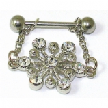 White Crystal Snowflake Dangle Nipple Bar