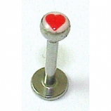 Red Heart On White Logo Lip / Tragus Micro Labret Stud 1.2mm
