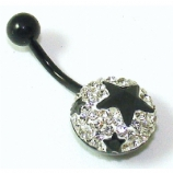 White / Black Crystal Encrusted Stars Blackline Belly Bar