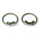 Pair Of 'Life Sucks' BCRs Ball Closure Rings