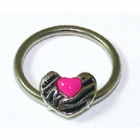 Zebra Print Pink Heart BCR Ball Closure Ring