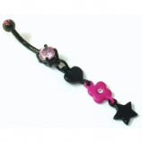 Heart Flower & Stars Pink Black Dangle Belly Bar