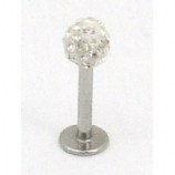 Sparkly Crystal Discoball Micro Labret Lip / Tragus Stud - 1.2mm