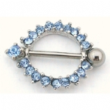 Sparkly Blue Crystal Ring Nipple Rounder Shield & Bar