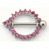 Sparkly Pink Crystal Ring Nipple Rounder Shield & Bar