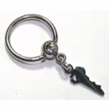 Key Dangle Ball Closure Nipple Ring