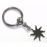 Sun / Star Dangle Ball Closure Nipple Ring