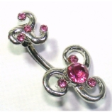 Double Crystal Celtic Swirl Belly Piercing Bar