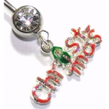 'Christmas' Glitter Dangle Belly Piercing Bar