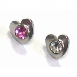 Crystal Heart Screw On Attachment For 1.6mm Dermal Anchor