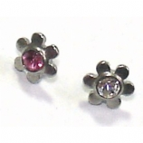 Crystal Flower Screw On Attachment For 1.6mm Dermal Anchor