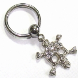 Skull & Crossbones Crystal Dangle Ball Closure Nipple Ring