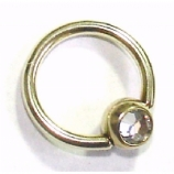 Crystal Gem Gold PVD Titanium Ball Closure Ring - 1.2mm