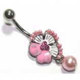 Tropical Flower Crystal Pearl Bead Belly Bar