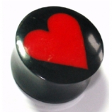 Red Heart Inlay Organic Black Horn Ear Plug 6mm - 25mm