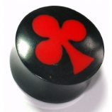 Red Club Inlay Organic Black Horn Ear Plug 6mm - 25mm