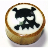 Loved Up Skull Picture Inlay Organic Wood Ear Plug 6mm - 25mm