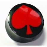 Red Spade Inlay Organic Black Horn Ear Plug 6mm - 25mm