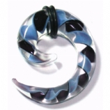 Black & Blue Twist Glass Ear Spiral
