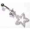 Large Star Dangle Sterling Silver Belly Bar