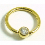 Solid 9ct Gold Crystal Gem Ball Closure Ring - 1.6mm x 12mm