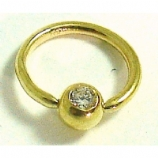 Solid 9ct Gold Crystal Gem Ball Closure Ring - 1.2mm