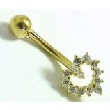 9ct Gold Small Open Heart Crystal Belly Bar