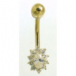9ct Gold Small Crystal Cluster Belly Bar