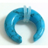 Turquoise Stone Ear Stretching Crescent 3mm - 10mm