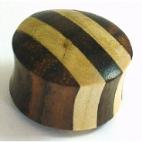Stripy Brown Organic Wood Saddle Plug 6mm - 30mm